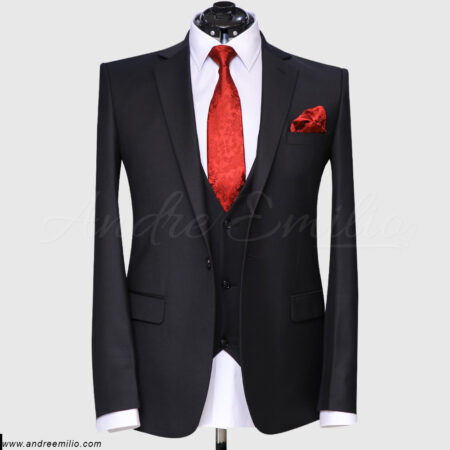 Men's Jet Black 3 Piece Suit