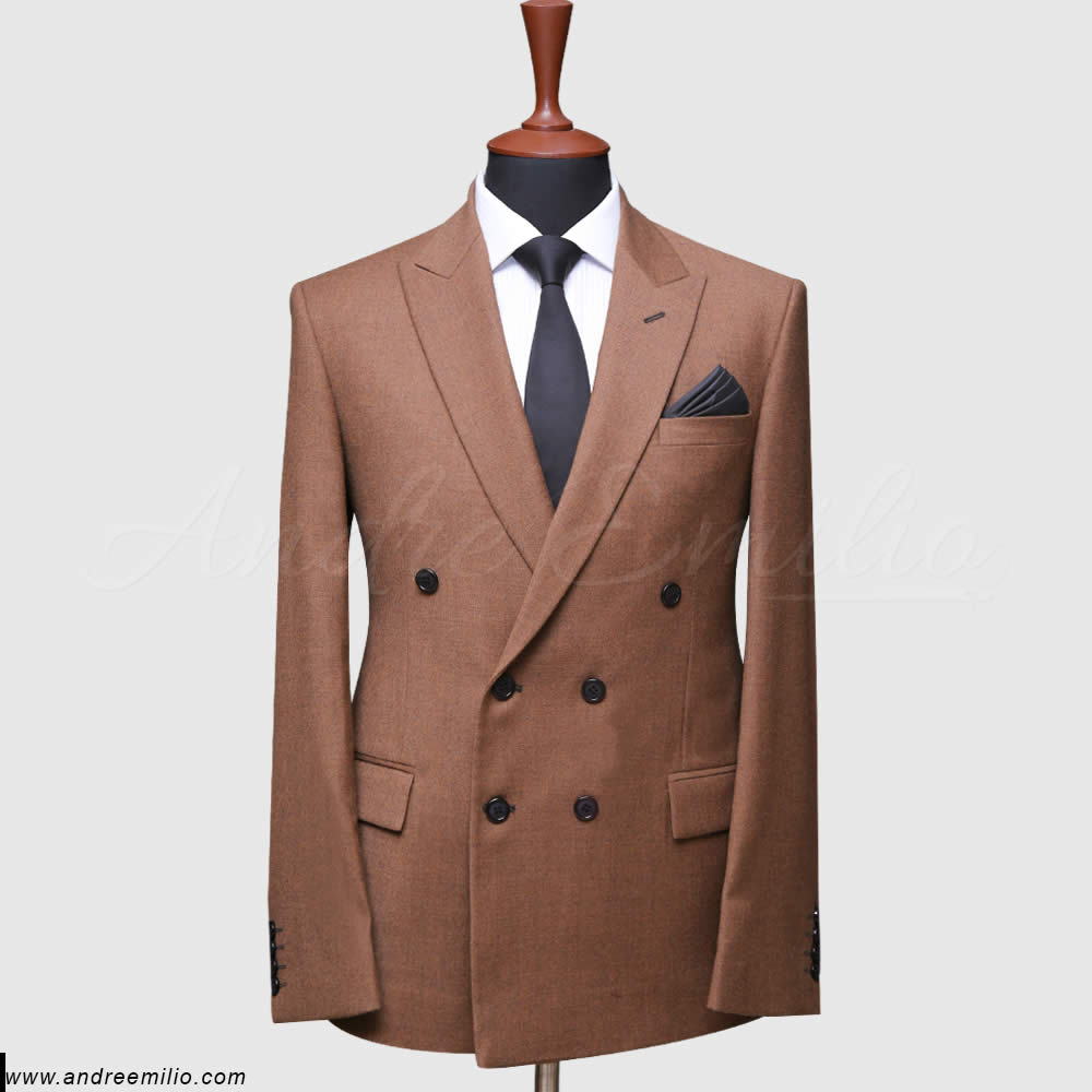 tawny color double breast suit