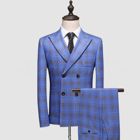 Windowpane Check Double Breasted Suit