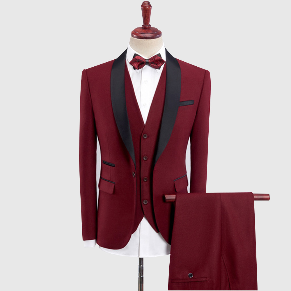 Cherry Red Tuxedo Wedding Suit