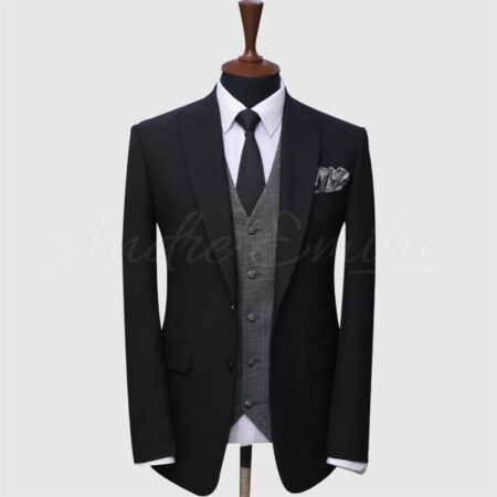 3 Piece Black And Gray Suit
