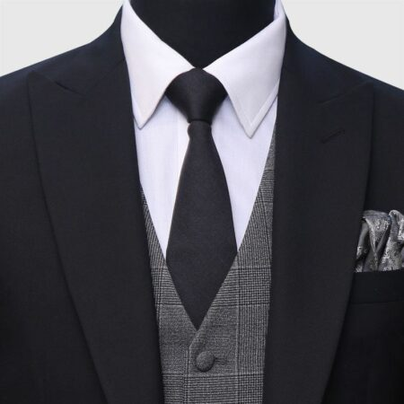 3 Piece Black And Gray Suit Closeup