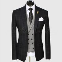 3 Piece Checked Black and Gray Suit 1