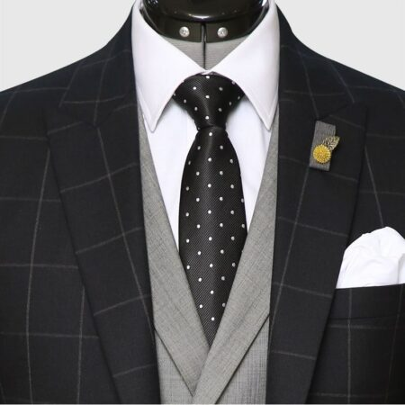 3 Piece Checked Black And Gray Suit Front