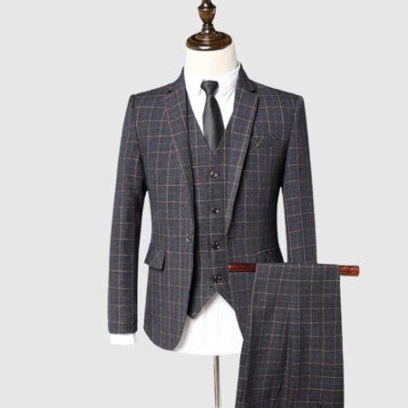 3 Piece Gray Check Suit
