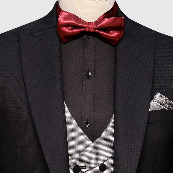 Black And Gray 3 Piece Suit Front