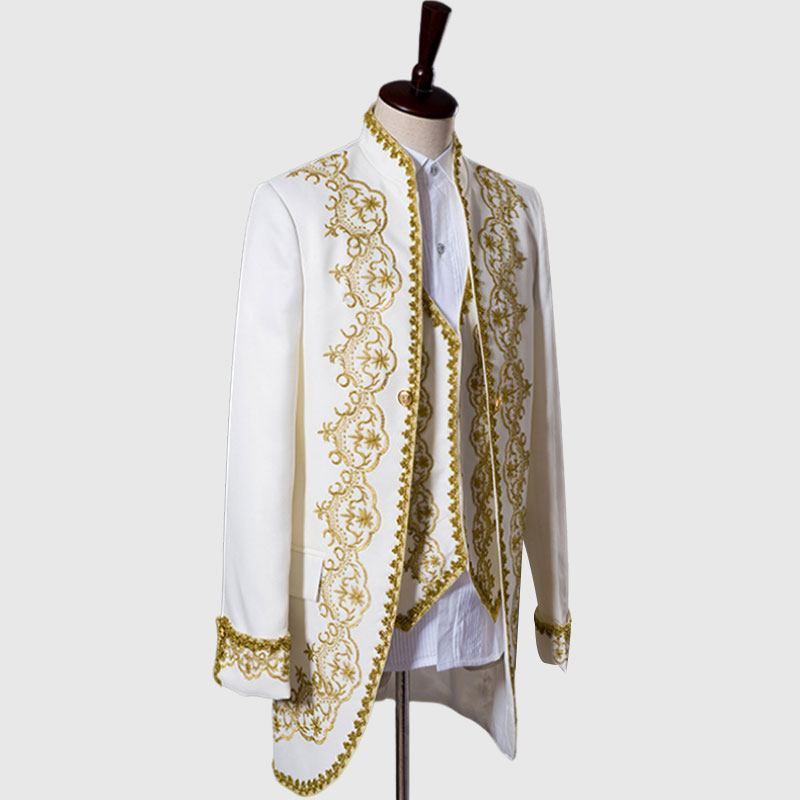 Buy Primum White 3 Piece Suit With Golden Pattern