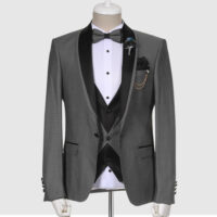 Dotted Gray Tuxedo Suit 1