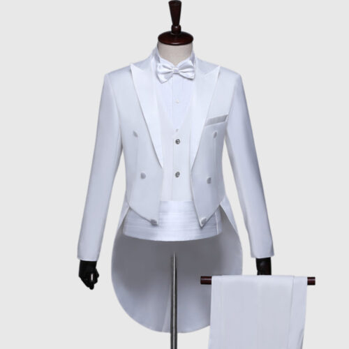 Plain White British Morning Tuxedo Suit
