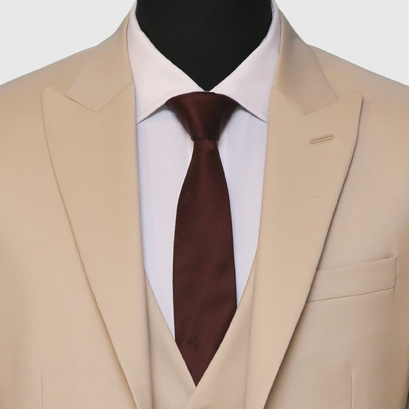 Premium Fine Cream 3 Piece Suit Closeup