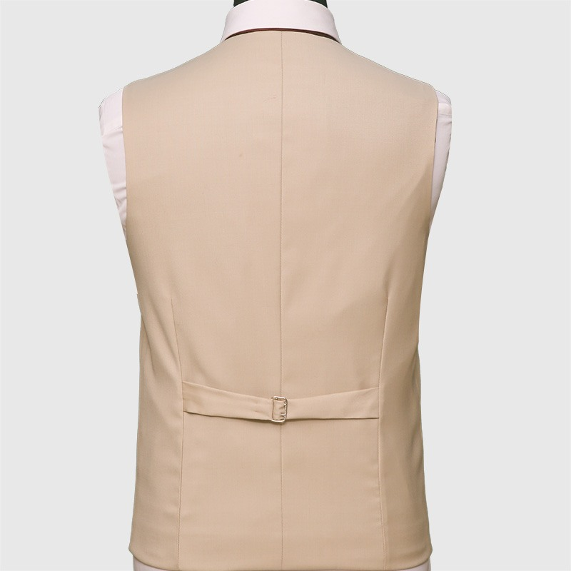 Premium Fine Cream 3 Piece Suit Vest Back