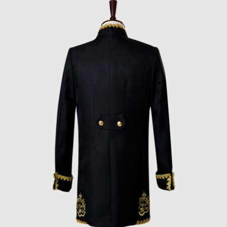 Primum Black 3 Piece Suit With Golden Pattern Back
