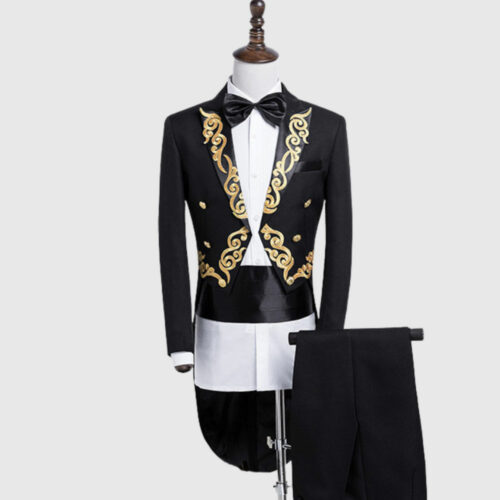 Black British Morning Tuxedo Suit With Golden Pattern