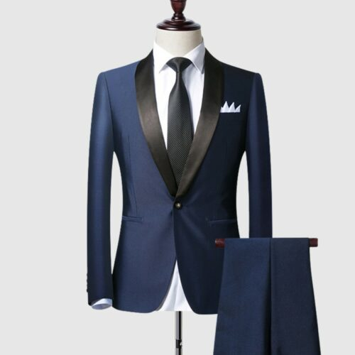 Blue 2 Piece Tuxedo Suits