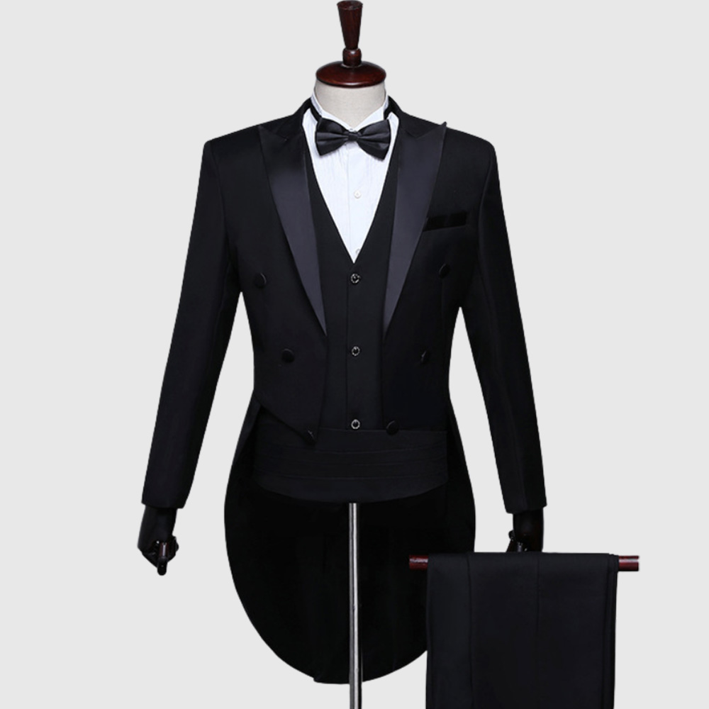 Plain Black British Morning Tuxedo Suit