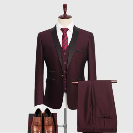 Mens Burgundy 3 Piece Suit