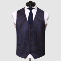 Men Navy Blue Suit With Check Waistcoat 7