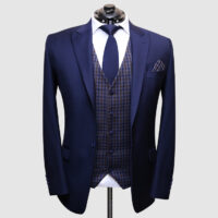 Men Navy Blue Suit With Check Waistcoat 1