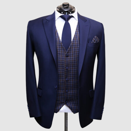 Men Navy Blue Suit With Check Waistcoat