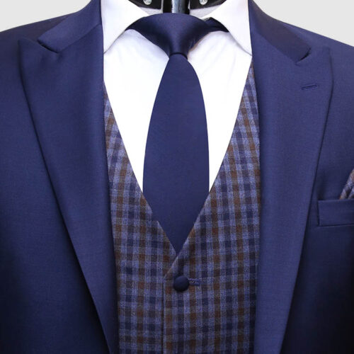 Men Navy Blue Suit With Check Waistcoat Front