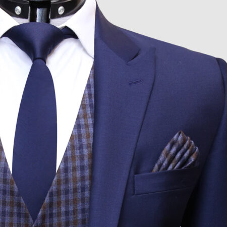 Men Navy Blue Suit With Check Waistcoat Lapel