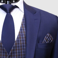 Men Navy Blue Suit With Check Waistcoat 2