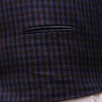 Men Navy Blue Suit With Check Waistcoat 6