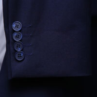 Men Navy Blue Suit With Check Waistcoat 4