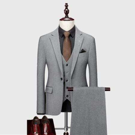 Mens Light Gray 3 Piece Suit