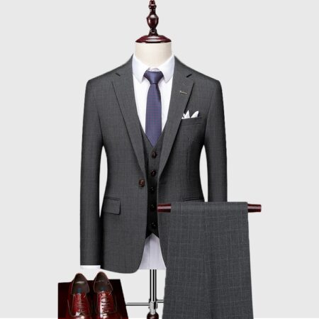 Mens Dark Gray Wedding 3 Piece Suit