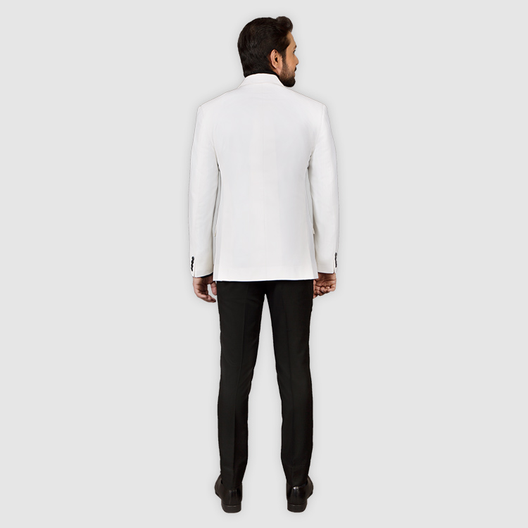 Double Breast White Suit Back