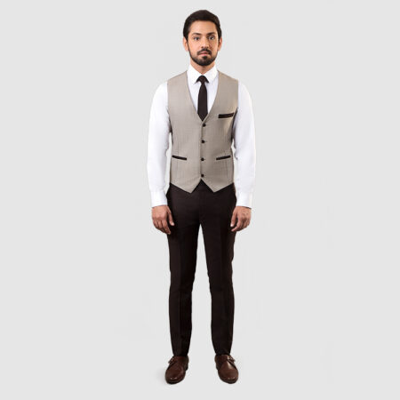 Men Dark Brown 3 Piece Suit Waist