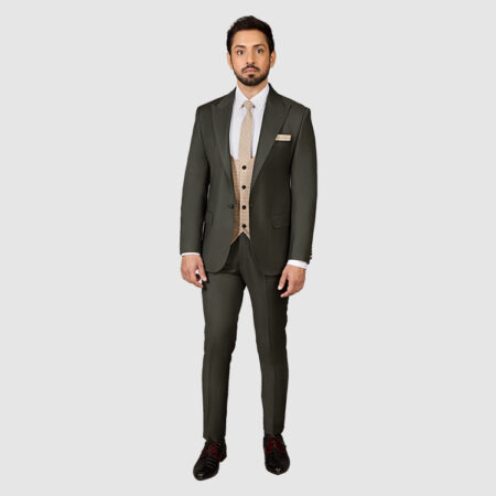 Men Dark Green 3 Piece Suit