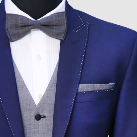 Men Dark Navy Blue Suit Lapel