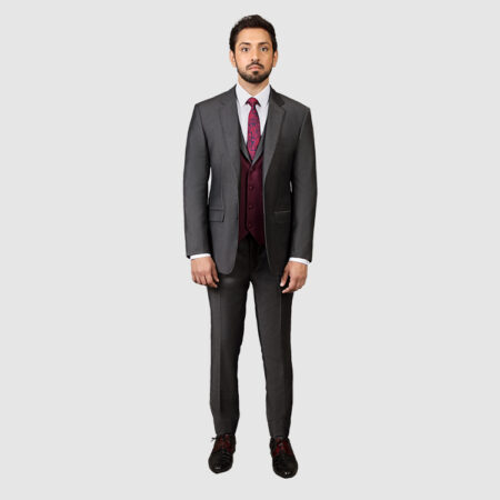 Men Dark Gray 3 Piece Suit
